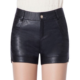 Wholesale Hot Girl Leather Clothing - New Hot Good Selling Ladies Girls Women Casual Fashion Slim PU Leather Thin Black Shorts Clothes 1816