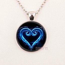Wholesale Diy Gemstone Pendant - Hot glass dome Kingdom Hearts Necklace, Art Pendant, Bronze Glass dome Cabochon Necklace,DIY Jewelry pendant glass gemstone necklace 125