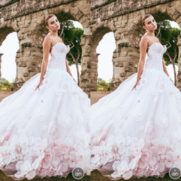 Wholesale Cheap Puffy Dresses - Newest A-line Wedding Dresses with Petal Train Sexy Cheap Spaghetti Straps Puffy Sexy Pink Wedding Gowns Court Train 2017 Bridal Gowns