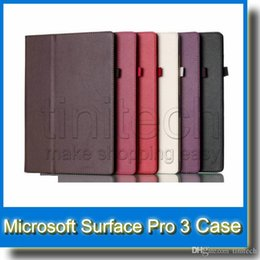 Wholesale Microsoft Surface Skin - Folio Cases Flip Leather Stand Protective Skin Case Cover w  Pen Holder for 12 inch Microsoft Surface Pro 3 Pro3 12inch