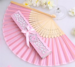 Wholesale Popular Showers - 100pcs lot popular Bridal shower favors cheap silk fan wedding favors, 16 kinds of color can choose, free shipping