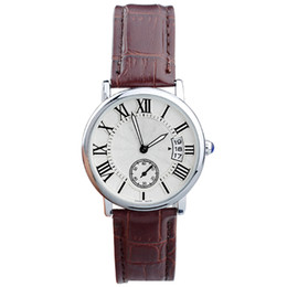 Wholesale Ladies Watches Small Dial - 2016 New Woman Watch Three Numbers Vertical Calendar Small Dial Second Pointer Leather Band Quartz Luxury Watches For Women Ladies Girls
