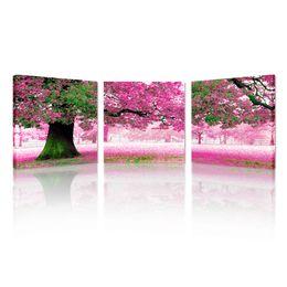 Impresiones en lienzo - Rosa con paisaje de memoria Impresiones fotográficas en papel - Lienzo de árbol romántico en lienzo Arte de la pared Set de 3 sin marco desde fabricantes