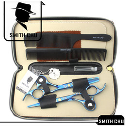 Wholesale razor hand - 6.0Inch Smith Chu Best Scissors Professional Hair Scissors Cutting & Thinning Shears Salon Razor Hairdressing Barber Set with Case, LZS0009