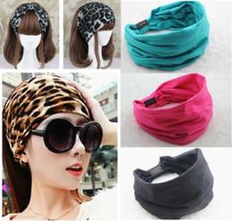 Wholesale Leather Turban - 2015 New variety of wear method Cotton Elastic Sports Wide Headbands for women hair accessories turban headband