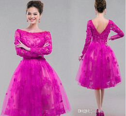 Wholesale Cocktail Long Dress For Bridesmaid - 2017 Red Fuschia Lace Short Prom Dresses Backless Cocktail Dress Cheap Sexy Long Sleeves For Party Bridesmaid Pageant Gowns Knee Length
