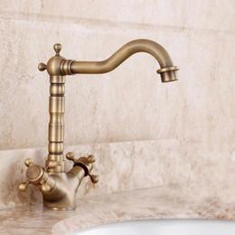 Wholesale Ceramic Art Basin - Full European antique copper retro copper faucet hole basin faucet hot and cold faucet Art Basin Above
