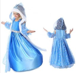 Wholesale Kids Party Dresses For Sale - 2016 Frozen Blue Dresses For Kids Costume Childrens Party Occasion Dresses Girls Hooded Clothes Hot Sale