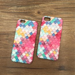 Wholesale Iphone Peacock - Hard PC Protective Back Case cover For iphone 6 6S 7 8 8P Plus Lovely Colorful Mermaid Fish Peacock Scale Phone Cases
