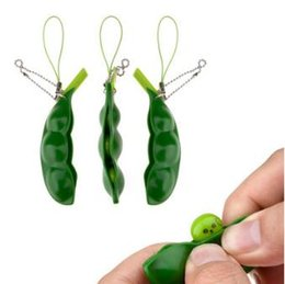 Wholesale wholesale green beans - Funny Fidget Toys Squeeze Extrusion Bean Keychains Soybean Keyring Anti-anxiety Decompression Toys With Retail Package CCA8403 100pcs