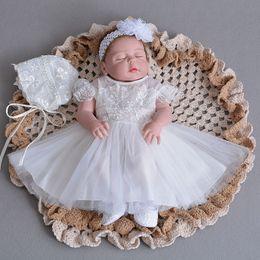 Wholesale Newest Tutu Dress - 2018 Newest White Lace Applique Newborn Baby Clothes Princess Tutu Dress Infant First Birthday Gown+Headband+Headgear Hat