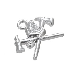 Wholesale Helmet Jewelry - 50pcs a lot Zinc Alloy Antique Silver Floating Fire Helmet and Axe Good Luck Pendant Charms For Gift DIY Jewelry