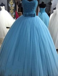 Wholesale Lilac Belt - Major Beaded Puffy Sweet 16 Dresses 2017 Plus Size Pleat Ball Gown Quinceanera Dress Bow Belt Sky Blue Tulle Lace Up Prom Gowns