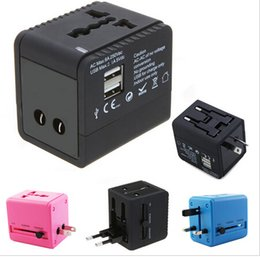 Wholesale Mp4 Dock Charger - 100~240V 2 USB port Worldwide Universal Travel Adapter wall Charger US EU UK AU Plug 5V 2.1A for iPhone 4 4S ipad HTC MP3 MP4