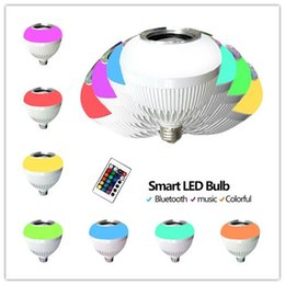 Wholesale Arrival Wireless Speakers - New Arrival Wireless Bluetooth Speaker Colorful LED lights 6W 110V-240V LED Speaker Bulb E27 B22 RGB Bulbs Music Player 10PCS Free DHL