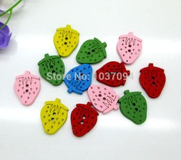 Wholesale Sweet Cabochons - 15x20mm 200Pcs Mixed Sweet Strawberry 2 Holes Wooden Buttons Sewing Accessories Kawaii Cabochons Scrapbooking Diy Wood Crafts