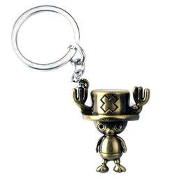 Wholesale One Piece Key Ring - Hot Aanime Jewelry Chopper One Piece Keychain Stereoscopic Alloy Car Key Rings & keychain Holder Keyring Jewelry For Gift