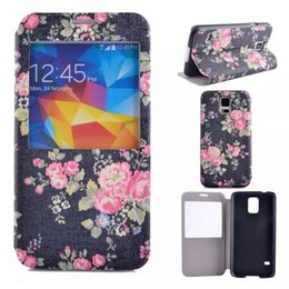 Wholesale Galaxy S4 Mini Flip Covers - For Samsung Galaxy S4 S5 Mini S6 I9600 I9500 Caller ID Display Open Window Flower Floral Rose Flip Wallet Leather Pouches Case Stand Cover