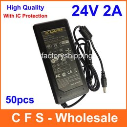 Wholesale Printer Power Supplies - 24V 2A AC DC Adapter Power Supply Charger 5.5mm Tip For LCD Monitor Printer 50pcs Lot Fedex Free shipping