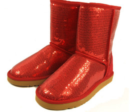 Wholesale Glitter Heel Shoe Boot - 2016 new Australia Classic Short Sparkles Snow Boots lady Handmade Glitter Sequins decoration Plush Winter women's Shoes boot.#555