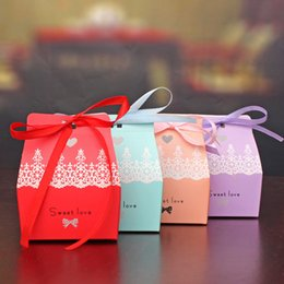 Wholesale Sweet Wedding Favours - Romantic Wedding Sweet Love Paper Candy Box Favour DIY Paper Favor wedding candy Box Free shipping