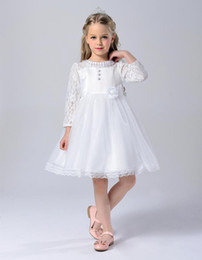 Wholesale Short Girls Chiffon Pageant Dresses - 2016 Vestidos De Comunion White First Lace Communion Dress For Girls Ball Gown Flower Girl Dresses For Weddings Pageant Dresses