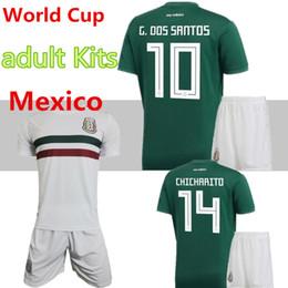 3777e97c310 Mexico national team adult Mexico Kits Soccer Jerseys Home Green Men Set  2018 World Cup G.Dos Santos CHICHARITO football shirts discount team soccer  jersey ...