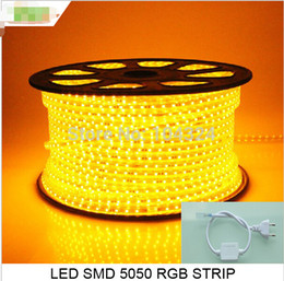 Wholesale High Brightness Led Strip 5m - High Brightness 5m 60leds m IP68 LED Strip 220v 5050 waterproof with connector plug For Free Wholesale Free Shipping