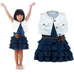 Wholesale Girls Denim Dress Winter - Girls Set Vest Denim Baby Dress The Single 2016 Summer Short-sleeved Children's Suit Dresses Set Children's Wear Suit Hot Style