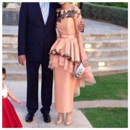 Wholesale Cheap Black Abayas - Vintage 2016 Cheap Off Shoulder Evening Dresses Arabic Dubai Abaya Tea Length Long Lace Black Tulle Celebrity Prom Special Occasion Gowns