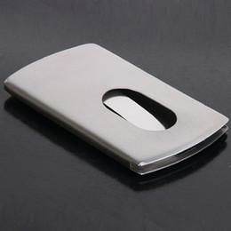 Wholesale Steel Zipper - 5PCS sets Stainless Steel Wallet Business Pocket Name Credit ID Card Holder Box Case Slide name Card case