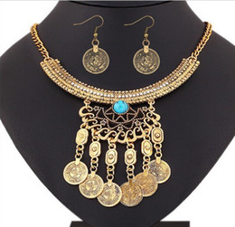 Wholesale Fringe Jewelry - Bohemian Retro Tribal Crystal Crescent Bead Flower Coin Fringe Bib Necklace Earrings Set Turkish Gypsy Jewelry Set