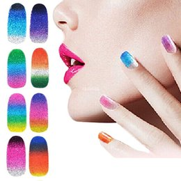 Wholesale full decals - New Arrival Glitter Nail Sticker Decals,5sheets lot Gradient Full Cover Adhesive Nail Foil Patch,DIY Nail Art Decoration Tools