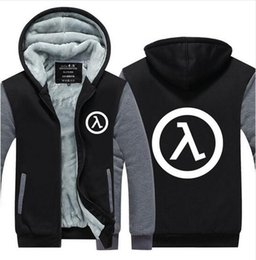 Wholesale Life Size Video - 2017 Winter Hoodies Mens Game Hoodie Half Life FPS video game Jacket Thicken Fleece Hoodie Winter Zipper Coat Jacket US EU Plus Size