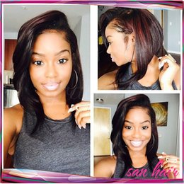 Wholesale Piano Tie - 100% Brazilian human hair glueless full lace wigs&lace front bob wigs 6a virgin hair bob lace wig bleached knots free shipping