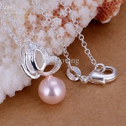 """Wholesale Pendant Butterfly Pearl 925 - Dazzling Gift 925 Silver Pink Pearl with Butterfly Pendant Necklace Ladies Necklace 18"""" 3 Colors Hot"""