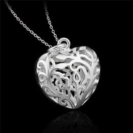 Dia dia dos namorados on-line-Preço de fábrica 925 Sterling silver oco coração pingente de colar de moda jóias presente do Dia Dos Namorados para meninas frete grátis