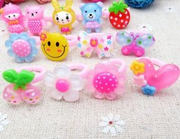 Wholesale Kids Plastic Rings Cheap - Cute cartoon animal Rings For children Fashion plastic Finger Rings Jewelry Kids Toys Gifts Cheap party birthday kids Accessories