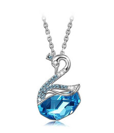 Wholesale Silver Plated Made China - QIANSER Ocean Blue Swan Animal Pendant Necklace Made with Swarovski Elements Crystal 2016 Jewelry