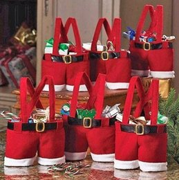 Wholesale Gift Bags For Christmas - Fashion Christmas Gift Santa pants style Christmas Decoration Christmas Wedding Candy Bags Lovely Gifts Xmas Bag For Children