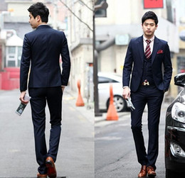 Wholesale Mens Wool Brown Suit - 2015 Wedding Tuxedo Suits Navy Blue Wool Mens Suit Two Buttons One Pocket In Side