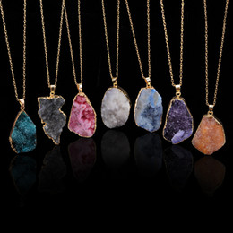Wholesale gold plated stone jewelry - New Natural Crystal Quartz Healing Point Chakra Bead Gemstone Necklace Pendant original natural stone-style Pendant Necklaces Jewelry Chains
