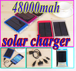 Wholesale Solar Mp4 - 48000mah solar charger power bank Dual USB ports 48000 mah solar panel 5V 2.1A 1.5W Travel battery for iPhone Samsung High Capacity