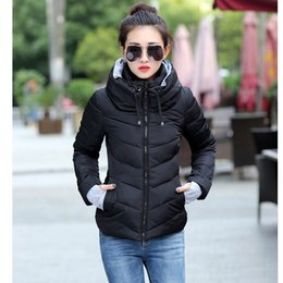Wholesale Womens Cotton Parka Coat - 2017 Winter Jacket Women Parkas Plus Size Womens Thicken Outerwear Solid Hooded Coats Short Female Slim Cotton Padded Basic Tops 9 Color