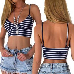 Wholesale Tanks Tops For Women - Sexy Stripe Crop Top Braces Vest Padded Bra Bustier Bralette Tank Casual Summer Wear for Women Ladies HB88