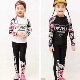 Wholesale Swim Full Body - Fashion Dropshipping Girls Chridren full body Diving Suit Swim Two-Piece Swimming wetsuit Swimwear Floral clothing Pink Black A7977