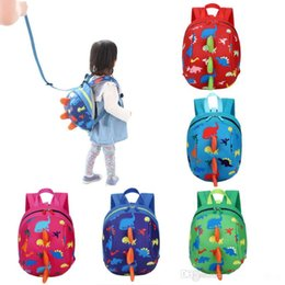 Wholesale Blue Toddler Backpack - Kid Anti-lost Backpack Dinosaur Baby Walking Safety Animal Print Kindergaden School Backpacks Toddler Leash Cute Cartoon Backpack