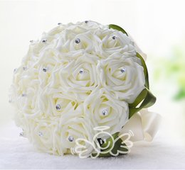 Wholesale Ivory Artificial Wedding Flowers - Romantic Ivory Artificial Rose Bridal Bouquets Beautiful 18 Heads Bridesmaid Flowers Groom Full Love Wedding Favors 2015 Unique Design WF002