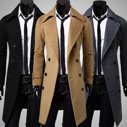 Wholesale Trench Coat Mens Lapels - hot sale long wool coat mens double breasted trench coats Wholesale men simple luxury men overcoat Free shipping