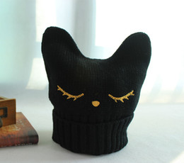 Wholesale Korean Style Beanies - Wholesale-Free Shipping Fashion Korean Style Acrylic Knitted Beanie Black Color with Cute Cat Ear Women Autumn and Winter Warm Hat